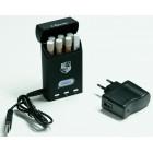 Cajetilla Electrónica Virtual negra con linterna (6 boquillas recargables)